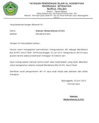 15+ Contoh Surat Pengunduran Diri atau Resign | Format ...
